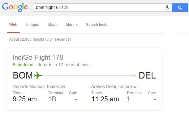 Google- find flight status