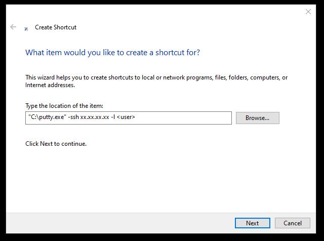 create shortcut window 5